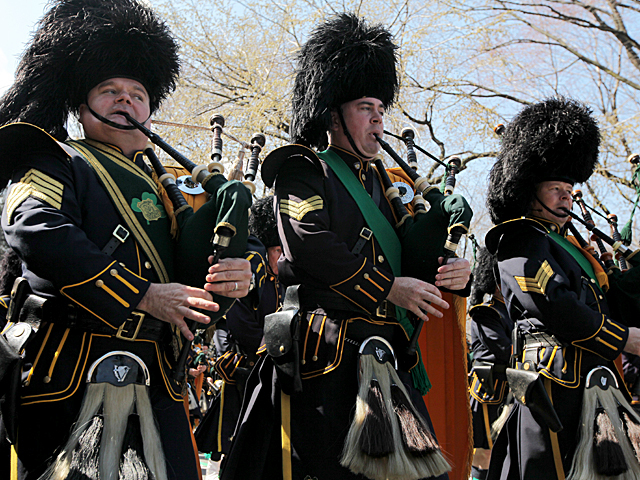 <p>Bagpipers march on 5th Ave during this years St. Patrick&#39;s Day Parade in New York City.</p>