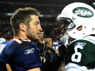 Tim Tebow, left, spoke to Jets quarterback Mark Sanchez in November 2011. Tebow just joined the Jets as a quarterback as well, setting up a possible rivalry between the two.