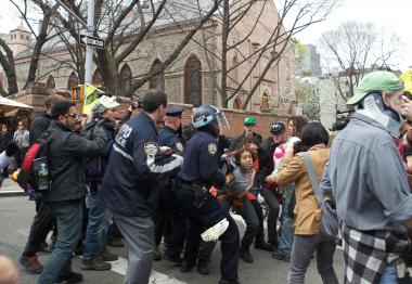 At least eight people were arrested during an Occupy Wall Street march to protest police tactics on March 24, 2012.
