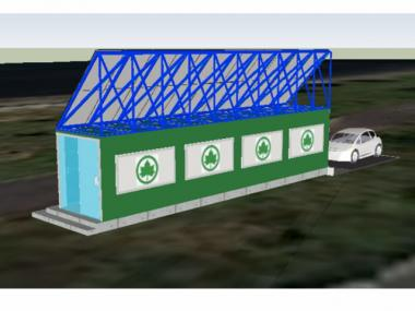 A conceptual rendering of the solar kiosk, which will serve as an information center for visitors.