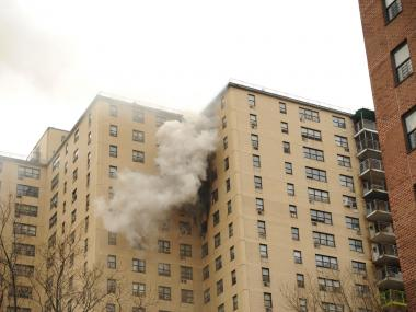 A three-alarm fire broke out at 89 Columbia St. on March 28, 2012.
