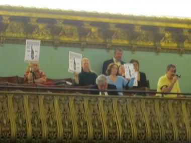 About half a dozen Village residents who oppose the Rudin development booed from the balcony of City Council chambers March 28, 2012, shook their heads and said Speaker Christine Quinn had let them down.