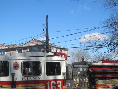 A fire knocked down three power lines on Purdy and Warwick avenues on Staten Island on April 2, 2012.