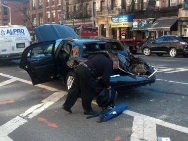 Two men were injured in a four-vehicle smash-up at Eighth Avenue and West 21st Street on April 3, 2012.