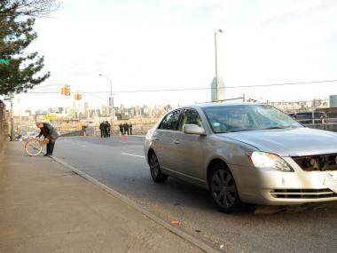 A bicyclist was struck and killed by a livery cab at Greenpoint and Borden avenues in Long Island City on Weds., April 4, 2012.