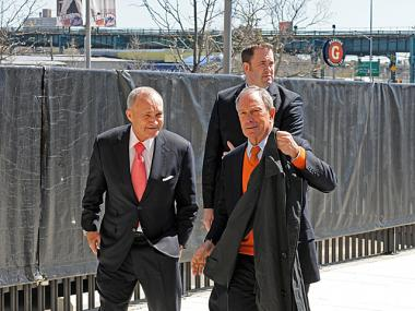 Mayor Michael Bloomberg and Police Commissioner Raymond Kelly arrive at Citi Field for Mets opening day on April 5, 2012.