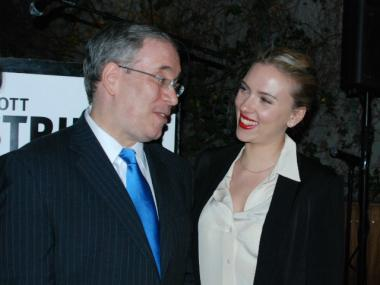 Scarlett Johansson laughs with Manhattan Borough President Scott Stringer.