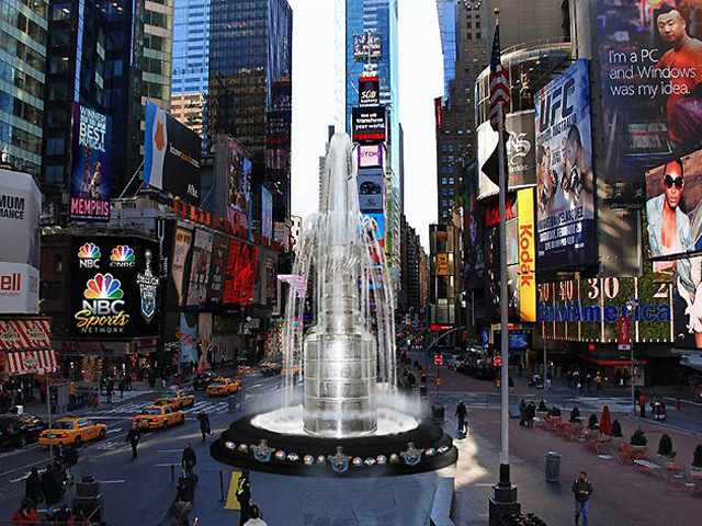 <p>A whopping 21-foot-high, 6,600-pound Stanley Cup replica will be on display in Times Square next week.</p>