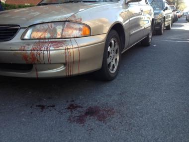 Blood stains a car at the scene of a police shooting at 3301 Nostrand Ave. in Sheepshead Bay, where four cops were shot on April 8, 2012.
