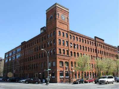 A former piano factory at the corner of Bruckner and Lincoln Avenues is now home to high-end lofts and the Clock Bar.
