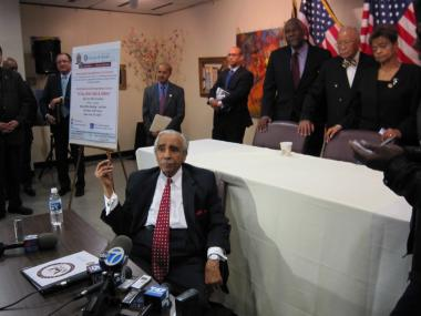 In his first public appearance since early February following a back injury, Rep. Charles Rangel used a walker to enter the room and sat in an office chair for the entire event but said he was still up to facing the toughest election challenger he has faced during his four decades in office.