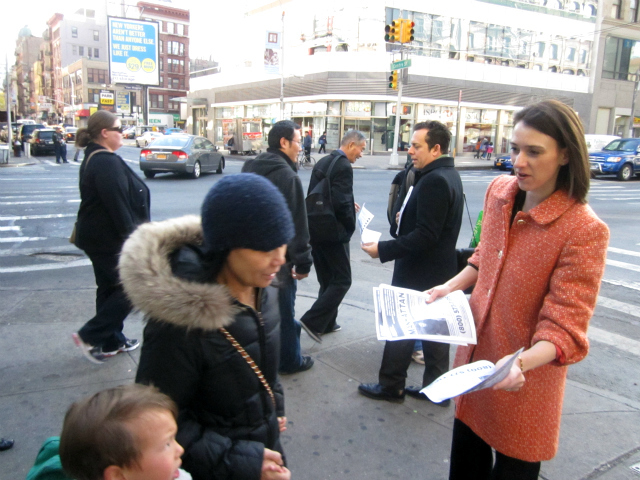 <p>City Councilwoman Jessica Lappin distributes flyers warning of a &quot;well-dressed&quot; groper April 12, 2012.</p>