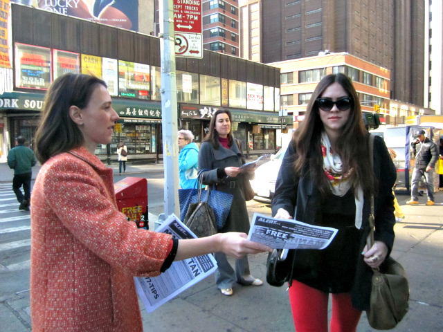 Councilwoman Jessica Lappin distributed flyers on Canal Street April 12, 2012 warning of a groping spree.