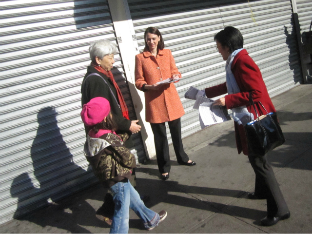 <p>Councilwomen Margaret Chin and Jessica Lappin distribute flyers warning of a groping pattern April 12, 2012.</p>