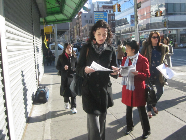 Councilwoman Margaret Chin warned women in Chinatown about a groper April 12, 2012.