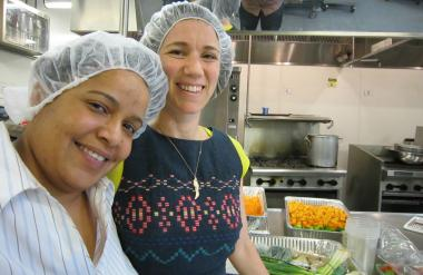 HBK Incubates is starting a program for low income food entrepreneurs. Beatriz Mieses-Hernandez, a community liaison at Hot Bread Kitchen at La Marqueta (left) and Jessamyn Waldman, executive director of Hot Bread Kitchen.