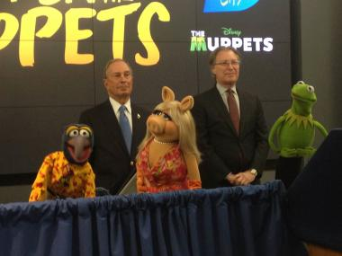 Mayor Bloomberg was joined by Kermit the Frog, Miss Piggy, Gonzo the Great and Pepe the King Prawn at NYC and Company to announce the Muppets' official appointment as the 2012 Family Ambassadors of NYC, April 13, 2012.