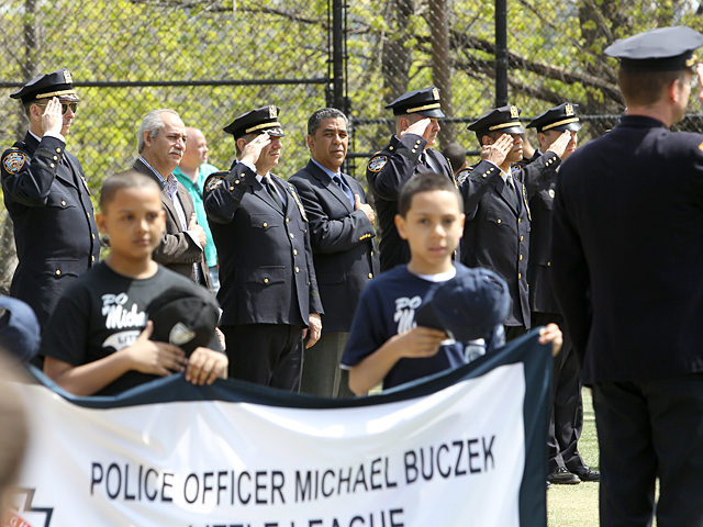 NYC Senator Adriano Espaillat attends the Michael Buczek Little League ceremony in Washington Heights on Apr. 14th, 2012.
