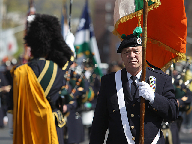 The NYPD Emerald Society Band march during the annual Michael Buczek Baseball Little League Parade on Apr. 14th, 2012.