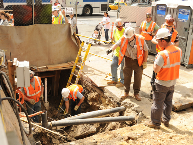 <p>A worker at the Second Avenue subway site was rushed to the hospital on Monday after a slab of concrete fell on his legs, officials said.</p>