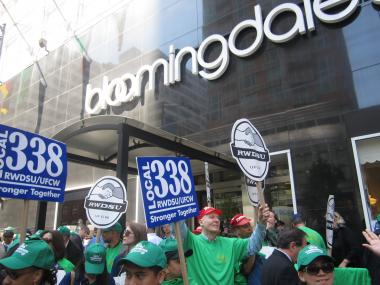Union workers at Bloomingdale's staged a protest on Wednesday, April 18.