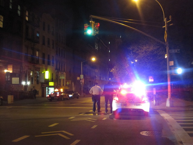 A pedestrian was struck on the Lower East Side on April 19, 2012, on East Broadway.