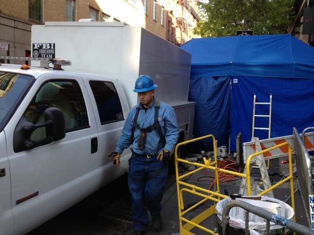 A worker at 127 Prince St., where investigators began digging for the remains of Etan Patz.