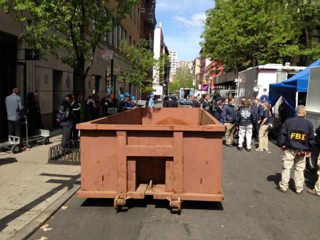 A large Dumpster was brought to the scene on Fri., April 20, 2012.