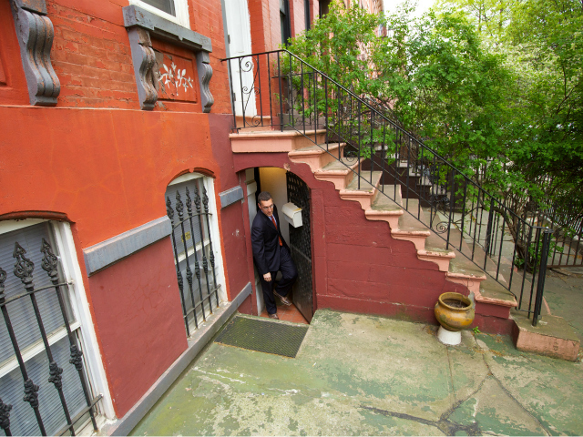 Lawyer Michael C. Farka left Othniel Miller's house in Brooklyn April 20, 2012.