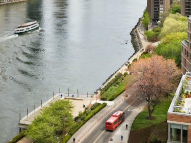 An aerial shot of Roosevelt Island.
