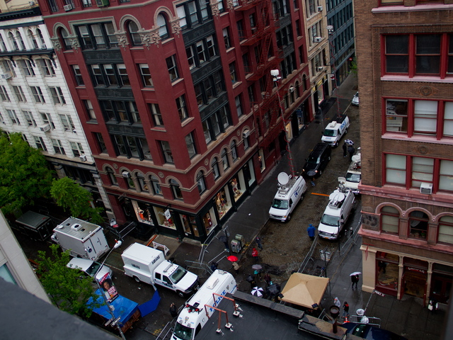 <p>An arial view of the Etan Patz crime scene in Soho on April 22, 2012.</p>