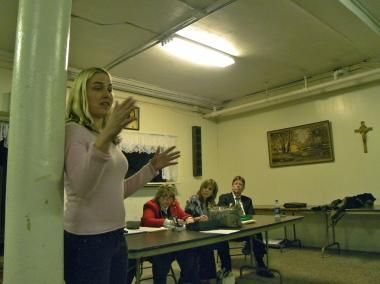 Sarah Obraitis at the public meeting Tuesday night