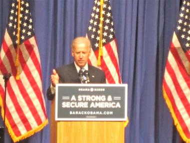 Vice President Joe Biden may have brought a little college humor with him to NYU April 26, 2012.