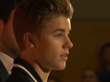 Justin Bieber accepting his award at NYU on Friday April 27, 2012.
