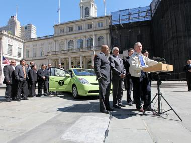 City officials unveiled the new Borough Taxi at City Hall on April 29, 2012.