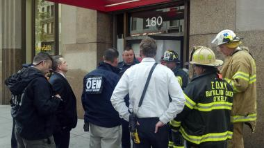 White powder was being investigated at the Wells Fargo bank at 180 Madison Avenue on April 30, 2012.