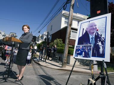 City Council Speaker Christine Quinn speaks at ceremony naming a street after 9/11 responder Detective Kevin Czartoryski, April 29, 2012.