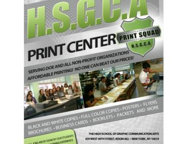 A flyer advertising the HSGCA Print Squad, which will provide affordable print services for nonprofits in Hell's Kitchen.