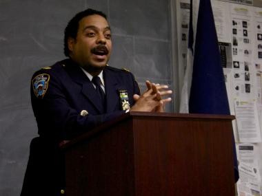 Capt. Jeffrey Schiff, seen here speaking at a 76th Precinct Community Council meeting Tuesday, May 1, 2012, was the first NYPD precinct commander to personally launch and update a precinct's Twitter feed.