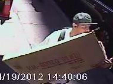 This man is wanted for stealing a TV from an apartment at 83 Baxter St. on April 19, 2012.