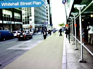 The DOT plans to widen sidewalks on Whitehall Street.