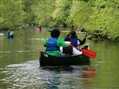 Participants in one of the annual Amazing Bronx River Flotilla events.