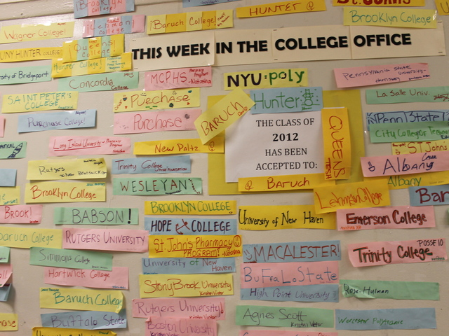 The wall of Brooklyn Latin School boasts all the schools seniors have been admitted for college.