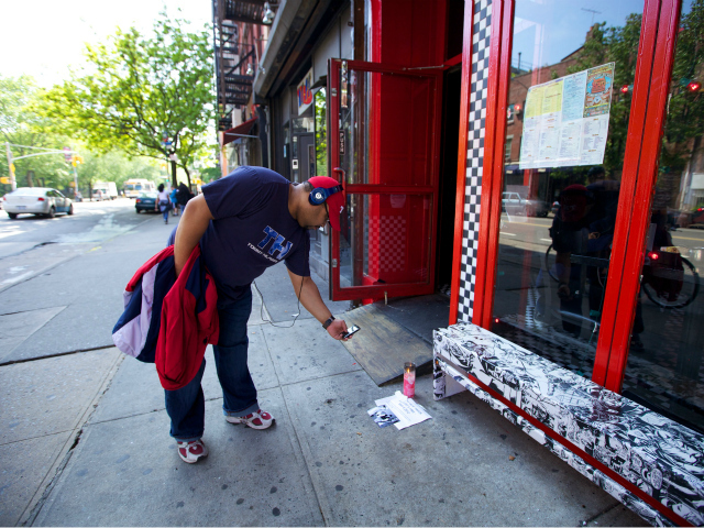A fan took a photo of the small memorial to Beastie Boys founder Adam Yauch May 4, 2012.