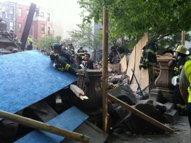 Rubble from the collapse of 110 W. 123rd St. May 4, 2012.