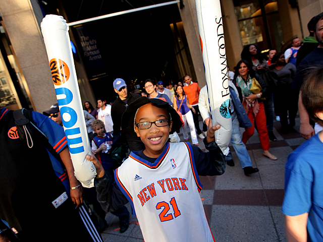 G. Edward Bell, 9 from Danbury, Conneticut was overjoyed after the New York Knicks defeated the Miami Heat Sunday afternoon saying,