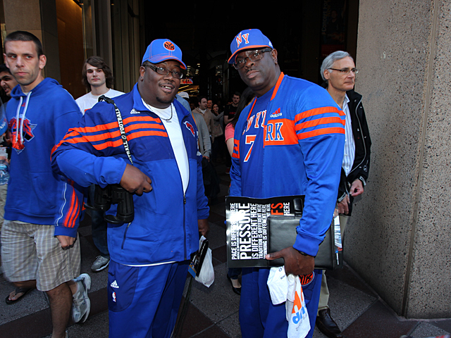 Life long Knicks fans Derek Boyd, 46 and pal Vincent Benton, also 46, from New York City can't wait for the next game to tip off in Miami next week.  Derek told DNAinfo