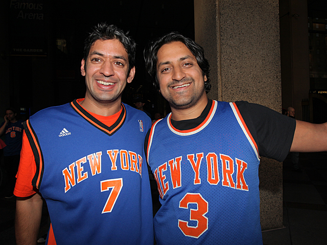 Niraj Patel, 35 (left) and pal Nilam Patel, 33, are Knicks season tickets holders from New York City and were proud of their team after they had defeated the Miami Heat. Niraj told DNAinfo,