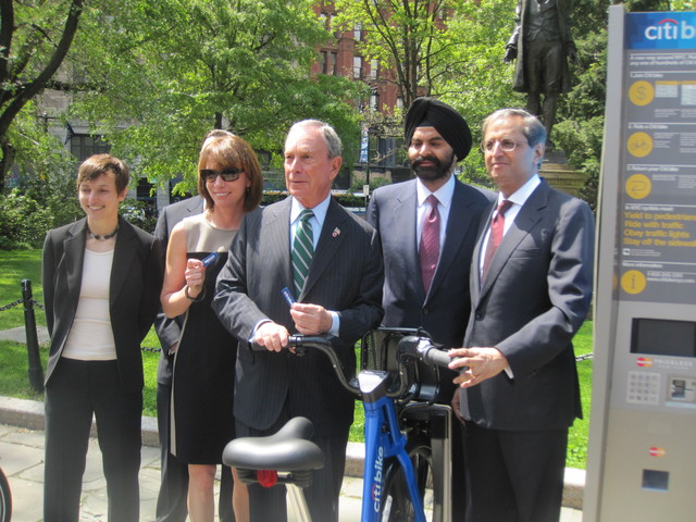 <p>Mayor Michael Bloomberg said the bikes would help provide transportation service to neighborhoods without buses and subways.</p>