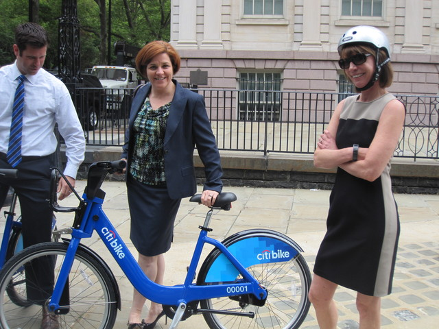 <p>City Council Speaker Christine Quinn said she was excited to try the bikes &mdash; which, she noted, matched her outfit.</p>